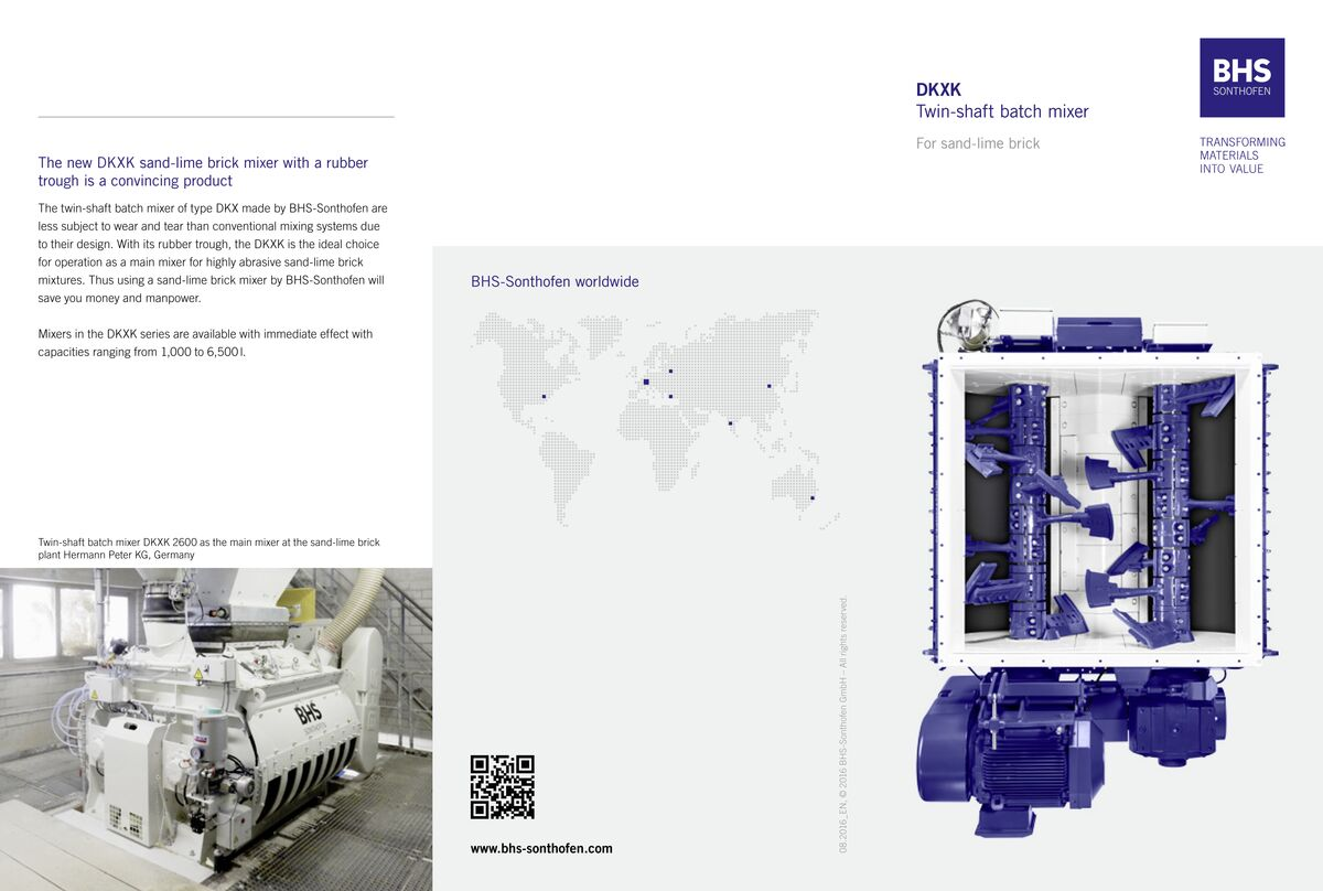 """Twin-shaft batch mixer (DKXK) for the sand-lime block industry"" flyer"