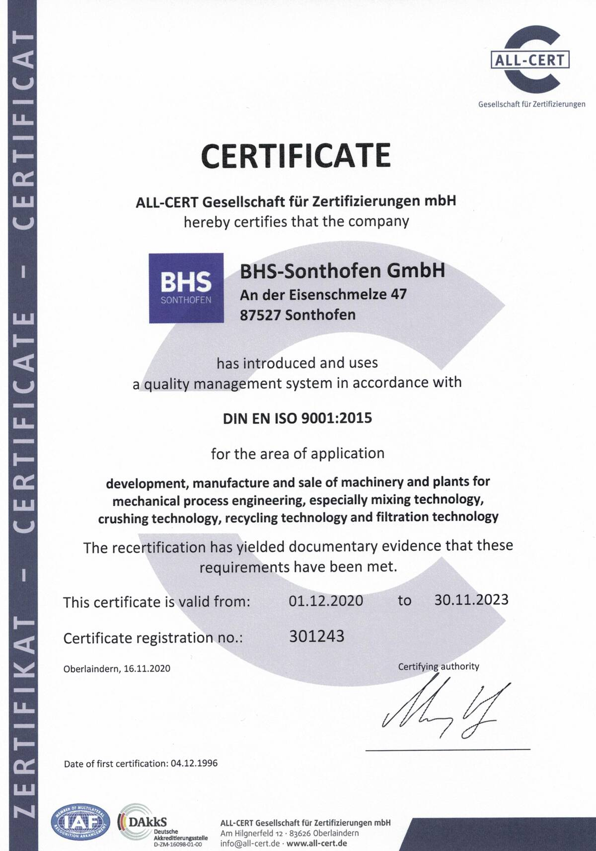 """Quality management system"" certificate according to DIN EN ISO 9001"
